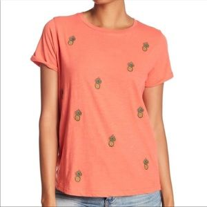 Lucky Brand Coral Pineapple Printed T-shirt